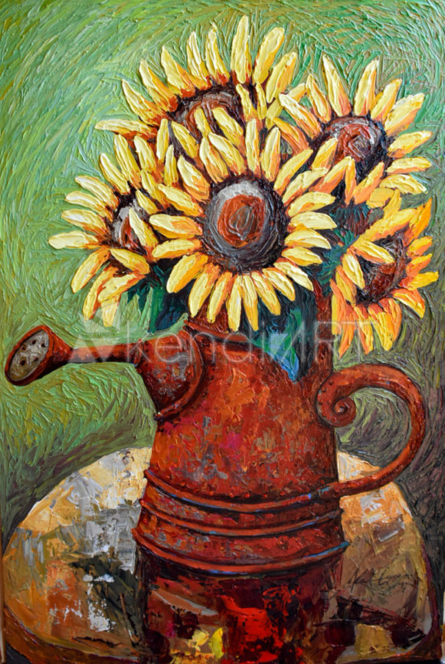 Sunflower in a red can